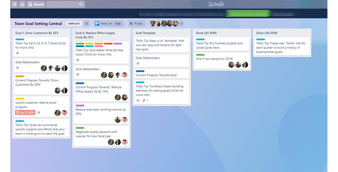 screenshot of Trello Board for Zendesk