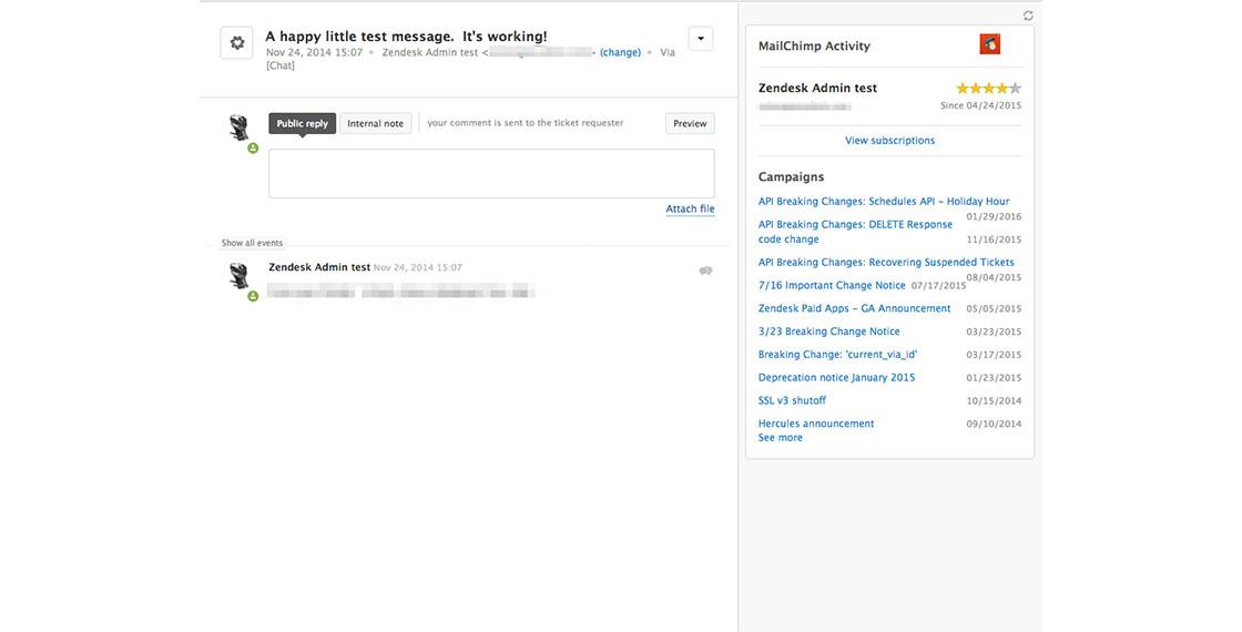 screenshot of Mailchimp activity app in Zendesk Support