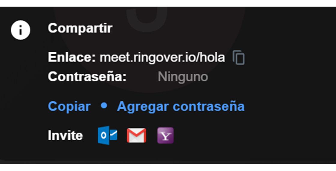 Interfaz de la parte para compartir la pantalla