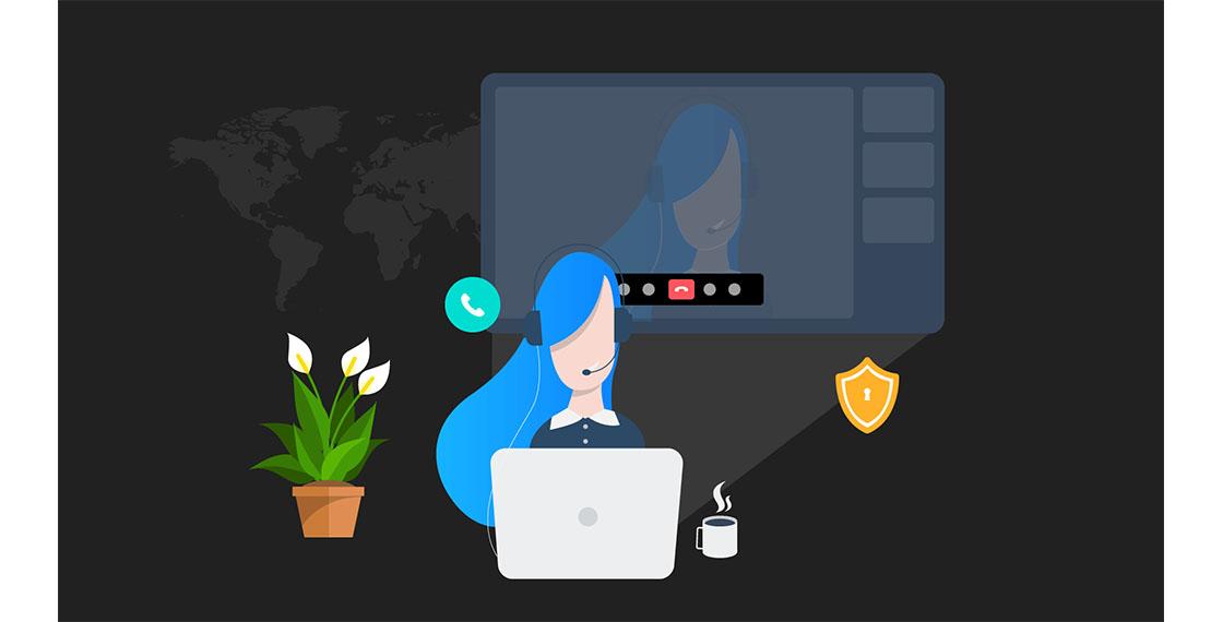 Ilustración de una teleoperadora con su imagen proyectada en una pantalla