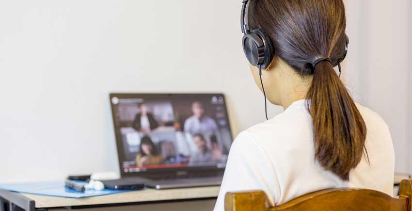 organized woman videoconference