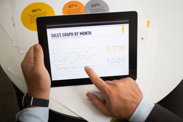 Sales graph by month on tablet