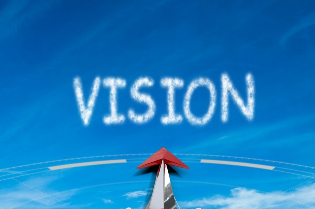 Arrow pointing forward to vision