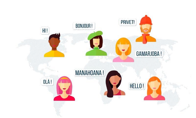 clients différents pays langues