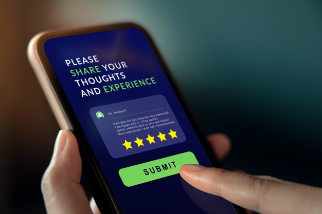woman using mobile phone to giving feedback