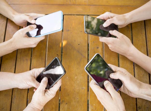 hands smartphones