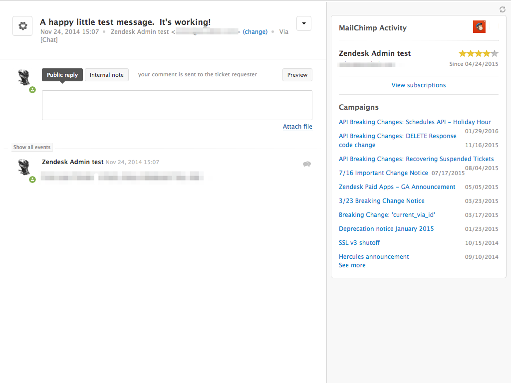screenshot of Mailchimp activity app in Zendesk Support