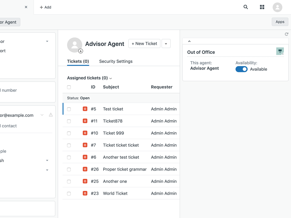 screenshot of Out of Office app for Zendesk