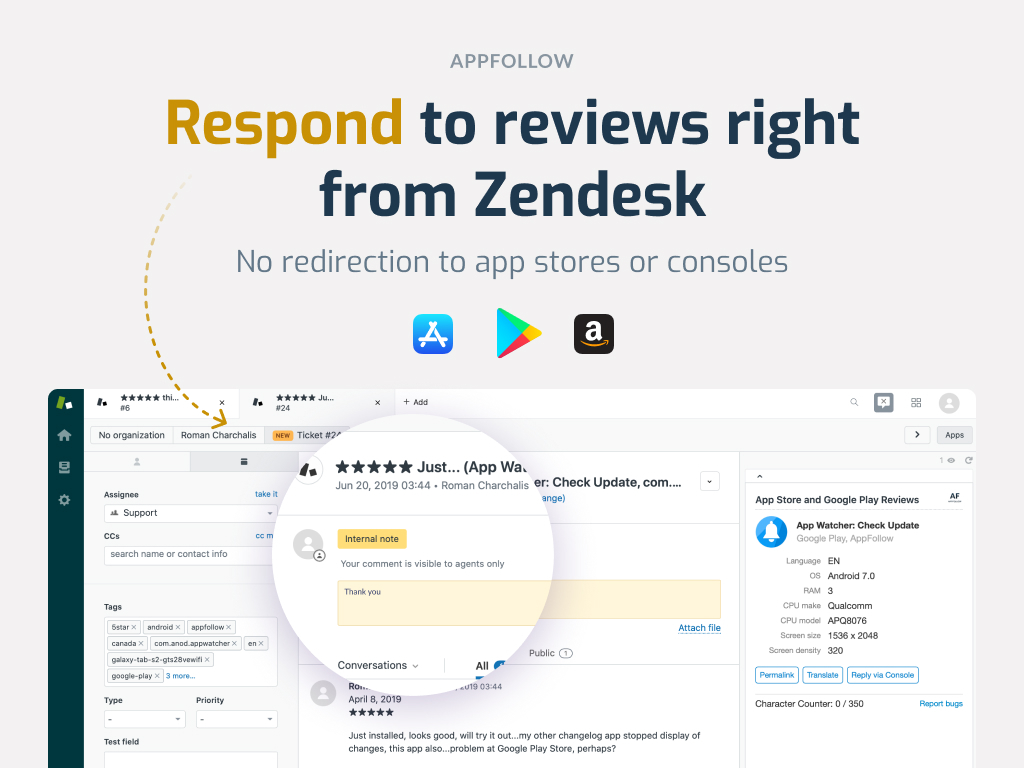 Screenshot of App Reviews App for Zendesk